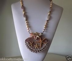 MIRIAM HASKELL PEARLS   MIRIAM HASKELL BIG SHELL NECKLACE~STARFISH~SEASHELLS~HAND WIRED SEED ...