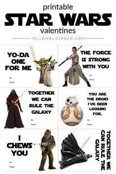 Free Star Wars Printable Valentines with New and Classic Characters