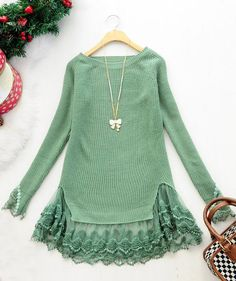 sweater add trim/lace (neat idea to lengthen sweater)