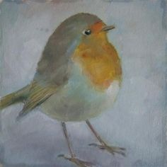 """Daily Paintworks - """"Robin"""" - Original Fine Art for Sale - © Maria Z."""