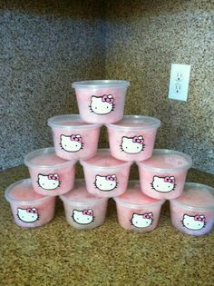 Kawaii Cotton Candy Hello Kitty Tubs and like OMG! get some yourself some pawtastic adorable cat apparel! Hello Kitty Baby Shower, Hello Kitty Theme Party, Hello Kitty Themes, Hello Kitty Cake, Amelie, Hawaian Party, 4th Birthday Parties, 5th Birthday, Birthday Ideas