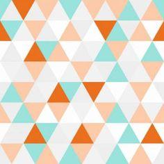 Papel de parede geométrico triângulos com desenho branco, cinza, laranja, vermelho e tiffany. Triângulos de aproximadamente 7x6cm. Tamanho: 1 Rolo de 3m (altura) X 50cm (largura).