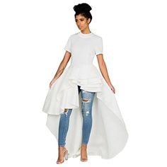 Goddessvan Women Short Sleeve High Low Peplum Dress Bodycon Party Club Asymmetrical Dress (XL, White) #Goddessvan #Women #Short #Sleeve #High #Peplum #Dress #Bodycon #Party #Club #Asymmetrical #(XL, #White)