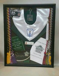 Graduation Shadow Box with cords cap invitations program tassel and student id's from each year. Graduation Party Planning, Graduation Celebration, High School Graduation, Graduate School, Senior Graduation Invitations, Graduation Announcements, Law School, Graduation Gifts, Graduation Shadow Boxes