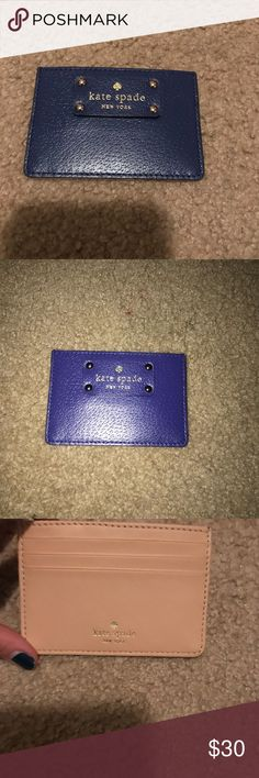 Blue/Tan Kate Spade Card Holder Brand new, never used. Has middle slot plus 3 outside slots. kate spade Bags Wallets