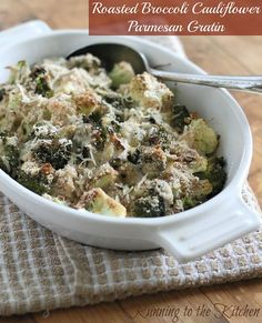 Roasted Broccoli Cauliflower Parmesan Gratin by Runningtothekitchen, via Flickr. Definitely not the healthiest meal but it has no meat and looks so delicious. #pescetarian #vegetarian: