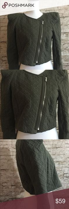 "BCBG Maxazria Cropped Knit Motorcycle Jacket M T18 I'm selling this really cool BCBG Maxazria Cropped Motorcycle Jacket. It's a Size Medium. It's a cute olive Green, a mixture of Cotton and Spandex as well. Zips Down in the front with Asymmetrical Style. It's NWT and Retails for $188.00!!  Measurements -  Collar to Hem=17.0"" Pit to Pit Fat=20.0"" Pit to Pit Doubled=40.0""  Materials=98% Cotton & Spandex BCBG Jackets & Coats"