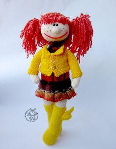 """Купить Мастер-класс """"Кукла Олли"""" - кремовый, вязаная игрушка, вязание спицами, МК"""