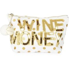 Bow And Drape Wine Money Sequined Dotted Canvas Pouch ($34) ❤ liked on Polyvore featuring bags, handbags, clutches, gold, white canvas handbag, pom pom handbag, wine purse, sequin handbags and metallic handbags
