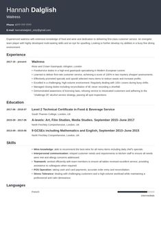 Waiter / Waitress CV: Example & Guide Cv Examples, Team Player, Writing Tips, Health Care, How To Get, Templates, Stencils, Vorlage