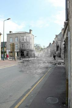 Then and now... Saint-Mère-Eglise, facing south from the corner of the church square  (© Ghosts of History, http://www.ghostsofhistory.co.uk/ )