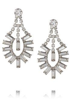 Tom Binns|Faux Real silver-plated Swarovski crystal earrings|NET-A-PORTER.COM
