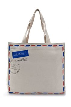 Airmail canvas bag - perfect wrapping for the birthday kid s present at an  airplane party! e5e3decdf09