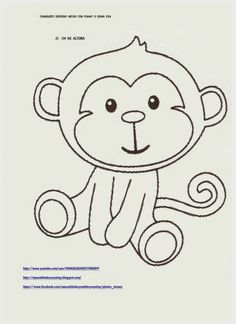 Molde Quilt Baby, Applique Templates, Applique Patterns, Monkey Crafts, Monkey Birthday, Baby Shawer, Felt Patterns, Little Monkeys, Drawing For Kids