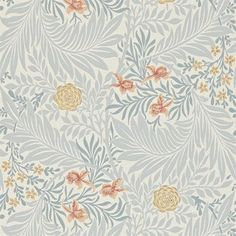 Larkspur - Morris Wallpapers - A re-interpretation of this delicate 1875 design with spiralling leaves and floating flowers on a background of dainty dots. Shown in the fresh green with pink and blue colourway. Please request sample for true colour match. William Morris Wallpaper, Morris Wallpapers, Blue Wallpapers, William Morris Tapet, Fabric Wallpaper, Wallpaper Roll, Wallpaper Jungle, Orange Wallpaper, Bedroom Wallpaper