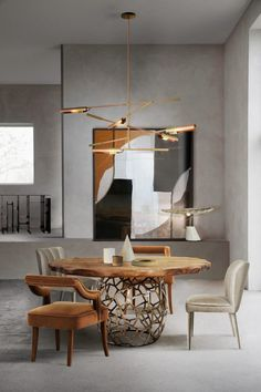 The elegant APIS Dining Table creates a modern dining room in earthy tones and matches perfectly with the bold DALYAN and the unique OKA Dining Chairs light up by the stunning KOBEN Suspension Light.   Contemporary Home Furniture, Unique Furniture, Luxury Furniture, Contemporary Architecture, Bedroom Furniture, Architecture Design, Wooden Furniture, Modern Contemporary, Modern Interior Design