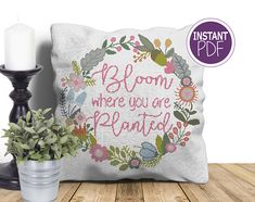 Bloom where you are planted Cross Stitch Pattern - Cross Stitch PDF - Inspirational Cross Stitch Chart by Peppermint Purple by PeppermintPurple now at http://ift.tt/2zPjMcu