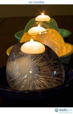 Ice Candle Holders. Here's a lovely decoration for your next party, indoors or out. They are super easy to make and will be a great conversation starter.