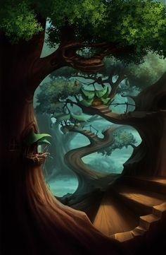 Fantasy, Forest, Treehouse  ********hey follow all my boards !! https://www.pinterest.com/jimmysancr/