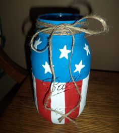 Ball Mason Jar...Vase, utensil holder, candle holder or solar light. ~ Red White Blue, 4th of July, Patriotic, Rustic, Home Décor, Americana, Distressed, DIY, nailed It