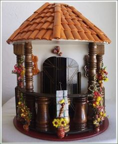 balcones antioqueños miñiatura - Buscar con Google Clay Houses, Miniature Houses, Fairy Doors, Little Houses, Diorama, Dollhouse Miniatures, Dyi, Diy And Crafts, Candle Holders