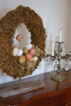 "Primitive Easter wreath.  My version came out ""not too bad""!  (And I also reused plastic eggs that I coated with textured paint and then speckled.)"