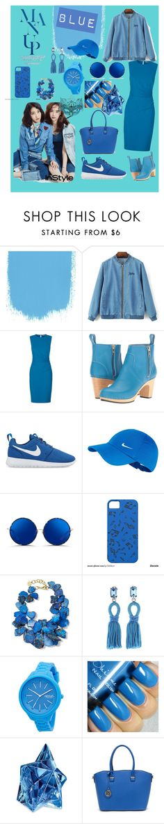 """BLUE"" by luthfiyyah-rachmawati on Polyvore featuring Diane Von Furstenberg, Swedish Hasbeens, NIKE, Matthew Williamson, NEST Jewelry, Oscar de la Renta, Rip Curl and Thierry Mugler"