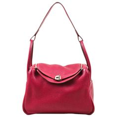 995e63067ee9 Hermes Rouge Red Clemence Leather Zip Turn Lock