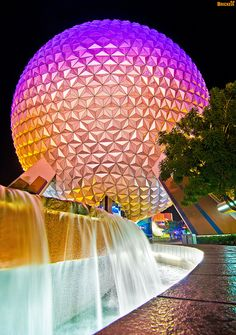 EPCOT Center - SpaceShip Earth Fountain (Night) by Tom.Bricker, via Flickr