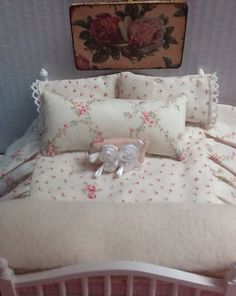 Sale-Miniature Dollhouse Bedding Shabby style by RibbonwoodCottage