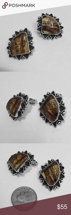 """Silver & Baltic Amber Earrings Stamped """"MA 196 925"""". MA 196 is the manufacturer ID.  This is not a stock photo. The image is of the actual article that is being sold  Sterling silver is an alloy of silver containing 92.5% by mass of silver and 7.5% by mass of other metals, usually copper. The sterling silver standard has a minimum millesimal fineness of 925.  All my jewelry is solid sterling silver. I do not plate.   Hand crafted in Taxco, Mexico.  Will ship within 2 days of order. Jewelry…"""
