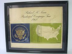 Richard Nixon signed campaign tour map from 1968.