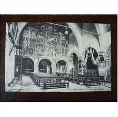 Switzerland Lugano Chiesa degli Angeli church interior vintage Photoglob postcard art