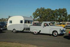 Seen at the All Holden Day held on Sunday 5 August 2007 at Hawkesbury Showground, Clarendon NSW. Vintage Rv, Vintage Caravans, Vintage Travel Trailers, Vintage Trucks, Retro Caravan, Camper Caravan, T1 Bus, Vw T1, Van Camping