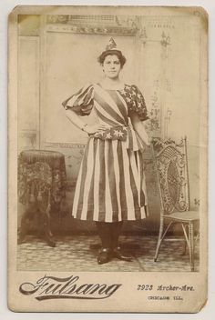Patriotic Flag Dress centenial celebration Cabinet Card