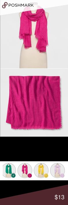 Ready For Spring with this Hot Pink Scarf NWT Gorgeous Spring Scarf In this Bright Pink Oblong super Soft New with Tags by A New Day Use it as a Wrap or Scarf makes any outfit look great! Nice and Oversized Poly Rayon Blend a new day Accessories Scarves & Wraps