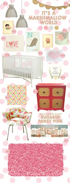 Crazy sweet inspiration board for a baby girl nursery. This was made for you, Erin.