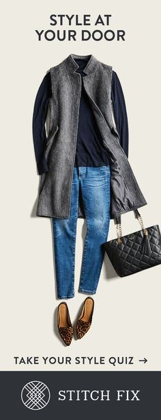 This is a great casual look, from the outerwear to the shoes. I would love to stroll in on casual Friday wearing this entire outfit. Stitch Fix Outfits, Winter Outfits, Casual Outfits, Cute Outfits, Rock Outfits, Emo Outfits, School Outfits, Looks Jeans, Look Fashion