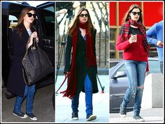 "Spotted: Anne Hathaway wearing ASH ""Virgin"" navy blue canvas trainers"