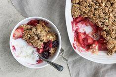 Vegan raspberry, blackberry and apple crumble