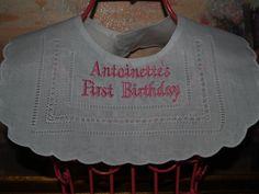 Heirloom Linen Bib For First Birthday by Zadabug on Etsy