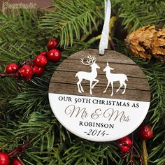 Our 50th Christmas as Mr and Mrs Ornament - Deer - Personalized Porcelain Anniversary Holiday Ornament  - Marriage - orn464 - Rustic Wood