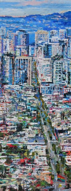 'Market Street Daytime' original oil by Kim Ford Kitz available now at Seager Gray Gallery.