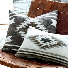 Traditional tribal motifs are reinterpreted in modern tonal colors for our Desert Kilim Collection of pillow covers. The cotton fabric with tonal cream, black, grey and brown designs are stone washed Southwestern Decorating, Home Decor Online, Southwest Style, Modern Southwest Decor, Modern Cabin Decor, The Design Files, Kilim Pillows, Owl Pillows, Cushions