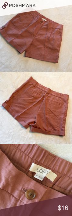 """LOFT Linen Shorts Ann Taylor Linen shorts with front slant pockets, back welted pockets, thick contour waistband and cuffed, stitched and buttoned at hem. In excellent, like new condition. Size 8 Petite.  5"""" inseam Color: Pink Rust Machine washable Ann Taylor Shorts"""