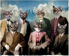 Anthropomorphic digital collage © Jay Thompson Cat Works