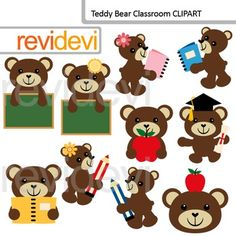 Teddy Bear Classroom Clip Art / back to school clipart. Cute teddy bears with chalkboard, apple, pencil, and book.Clipart set for teachers and educators. Great resource for any school and classroom projects such as for creating bulletin board, printable, worksheet, classroom decor, craft materials, activities and games, and for more educational and fun projects.You will receive:- Each clipart saved separately in PNG format, 300 dpi with transparent background.- Each clipart saved separately…
