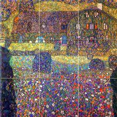 Art Colorful Gustav Klimt Ceramic Mural Backsplash Bath Tile #2015 #wwwFlekmanArtcom