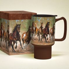 Lang Horses Taking Flight Ceramic Travel Mug Irish Coffee Mugs, Coffee Mug Sets, Mugs Set, Thermal Mug, Travel Cup, Tea Pot Set, Espresso Cups Set, Stoneware Mugs, Perfect Cup