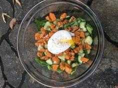Sweet Potato Salad with Poached Egg - Nibble to Nourish